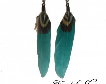Turquoise and natural feather earrings