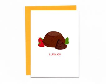 Valentine's Day card - chocolate cake - pun - funny card - carb love