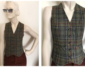 60s/70s collegiate Wool plaid vest // Green preppy plaid vest // Tartan plaid vest size S/XS 1970s grandpa plaid  prep