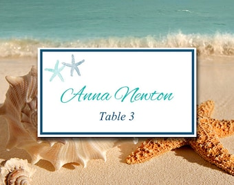 Starfish Wedding Place Cards Microsoft Word Template   Teal Marine Blue   Download Wedding Table Card Place Setting Escort Cards