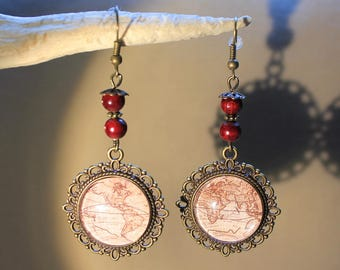 "Earrings ""retro map"" steampunk, retro, fantasy."