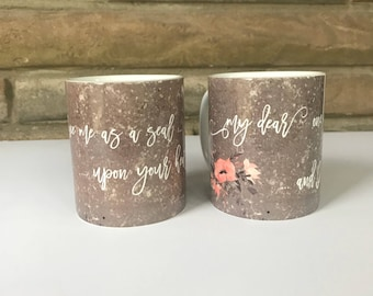 Set of Engagement Mugs with Endearing Quotes