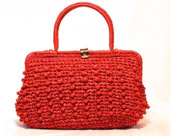 Vintage Crochet Raffia Handbag by JOSEF - 1950s 60s Red Woven Beaded Purse