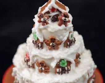 12th scale handmade miniature gingerbread house gateau