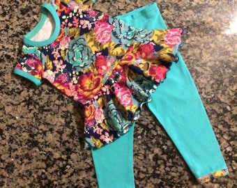 floral infant set - baby baby set - floral peplum top - floral bunny top - take me home - bunny set - cute baby floral - peplum top