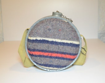 Vintage 1960s JAPAN Canteen, Thick Wool over Tin with Canvas Strap and Chained metal lid stamped JAPAN