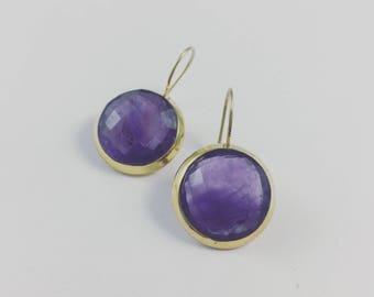 Round Amethyst Earrings