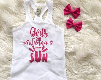 Girls Just Wanna Have Sun Tank Top -- Fun Top -- Spring and Summer Hot Dark Pink & White Outdoors Sunshine Tee - Toddlers, Kids, Girls