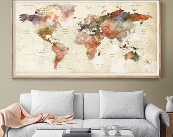 World map decor etsy watercolor large wall art world map poster prints push pin map home and office gumiabroncs Images