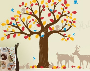 Forest Friends Nursery Wall Decal with Owls, Deer, Butterflies | Large Oak Tree for Baby, Kids or Childrens Room | 085
