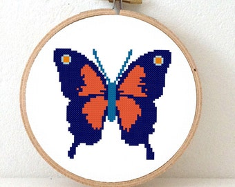 Butterfly pattern. Colorful Butterfly Cross Stitch pattern. Butterflies in red and blue