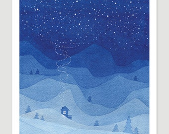 Watercolor painting Mountains print blue house night landscape stars sky painting giclee art print