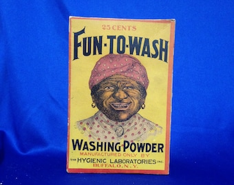 """Carrie Fisher Estate: Vintage Fun To Wash Washing Powder Laundry Detergent Box, Buffalo, NY  7.5"""" High"""