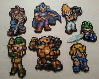 Chrono Trigger Bead Sprites | Crono, Marle, Lucca and more | Retro Gaming | 8 bit art