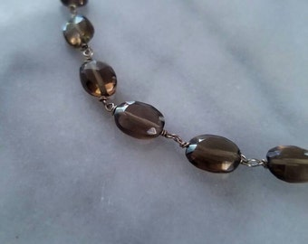 Faceted smokey quartz & Sterling silver chain necklace