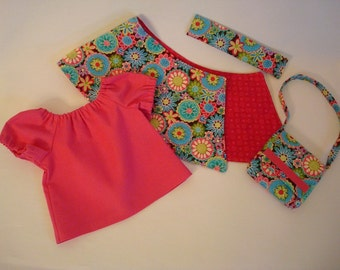 Reversible Wrap Skirt for American Girl Doll – Bitty Baby Doll Reversible Skirt with Optional Matching Purse, Headband & Pink Peasant Shirt