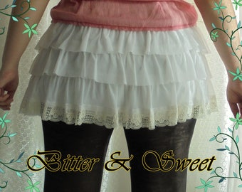 Mini short bloomers with frills and lace in tulle lycra Steampunk-Gothic Lolita-Cabaret-Victorian-Burlesque-Cow Girl-Ranchers-Bitter & Sweet