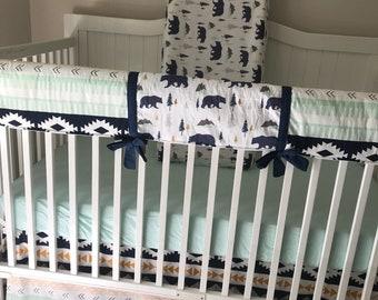 Baby Boy Crib Bedding Woodland Bears Mountains Tribal Aztec Navy Gold Mint Gray