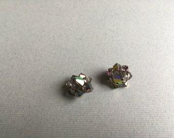 Vintage Glass Aurora Borealis Clip Earrings