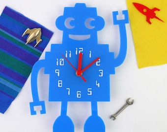 Retro Robot sci-fi time piece - a laser-cut clock for the 21st century - Space Kids Children's Nursery Cute Numbered Fun Clock