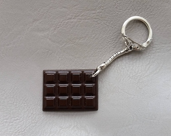 Dark chocolate bar resin keychain
