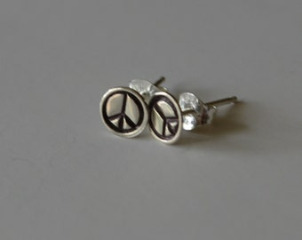 Sterling Silver Peace Sign Earrings Post Earrings Recycled Sterling Silver Hand Stamped