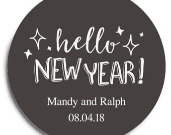 Set of 100 Round Wedding Coasters - Hello New Year! - Custom Coasters - Weddings - Wedding - Wedding Reception - Wedding Coasters