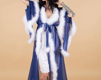 Chiffon dressing gown robe with marabou feather trim