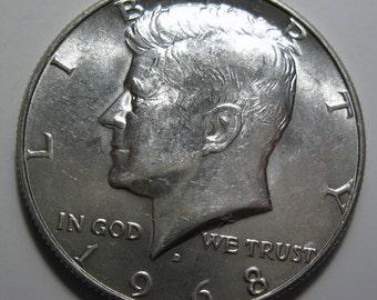 1968 D silver Kennedy half dollar coin (#E113S)