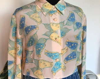 Vintage tailored silk blouse curvy