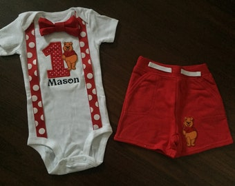 Winnie the Pooh first birthday baby boy outfit, baby boy 1st Birthday Party