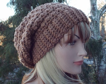 Light Chocolate Brown Crochet Hat, Womens Slouchy Beanie, Oversized Slouchy Beanie, Chunky Hat, Slouchy Hat, Winter Hat, Slouch Hat
