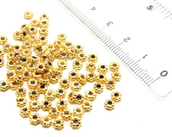 100 pcs Tiny Spacer Beads, 24k Gold Daisy Spacer Beads , 4mm Gold Plated Spacer, Gold Plated Rondell Spacer, Gold Spacer Bead, Gold Findings