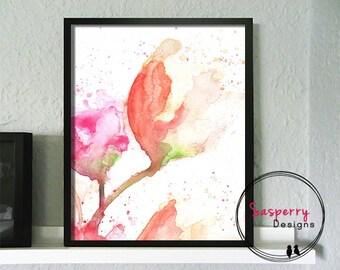 Pink Flower Painting - Orange Tulip Print - Watercolor Flower Nursery Art Fuchsia Orange Red Giclee Print