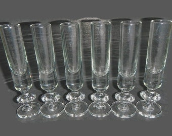 Vintage Set of 6 Cordials or Footed Shot Glasses - clear glass, barware, drinking, liquor, skinny, tall, glassware, cocktail, entertaining