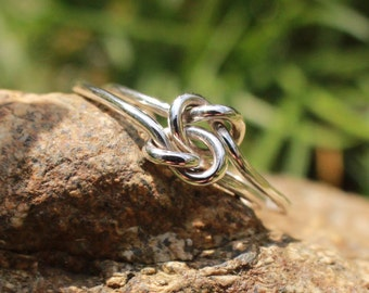 Love Knot Ring 925 Sterling Silver Celtic Double Knot Bridesmaid Ring Friendship Ring