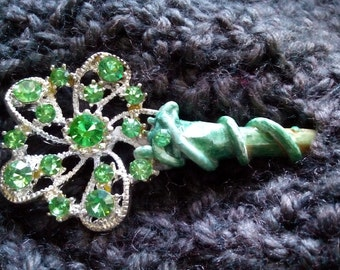 Green rhinestone | shawl pin | holly wood |  decorative pin | floral | snowflake | nature inspired