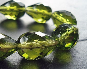 Czech Glass Beads 16 x 12mm Olive Green Faceted Teardrops - 4 Pieces