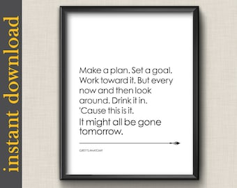 Grey's Anatomy Quote, printable wall art, instant download, make a plan, office wall art, diy print, dorm wall art, quote print, tv quote