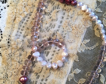 Faceted Rose Quartz Gemstone Freshwater Pearls Artisan Silver Womens Necklace OOAK