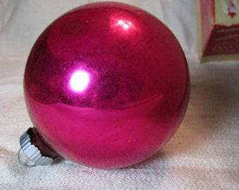 "1 Dozen Pink Shiny Brite Christmas Ornaments Mercury Glass Coby Box 2 1/4"""