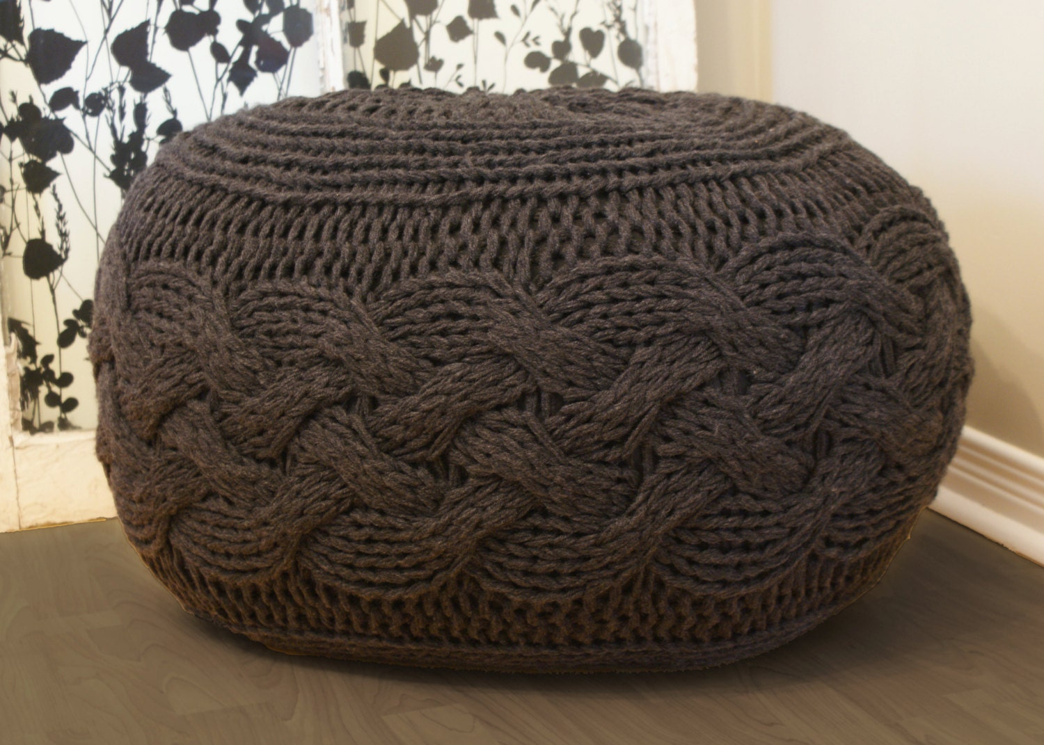 pouf intended footstool chunky house inside within for grey ottoman guide knitted pouffe knit patterns your