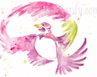 Painted Pigeon - Original colourful bird Watercolour Painting