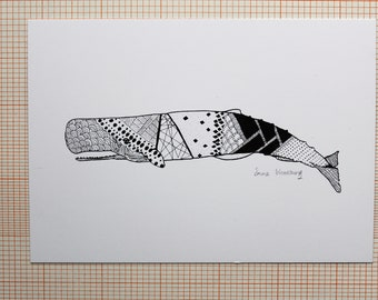 Sperm Whale in ink - A6 Postcard
