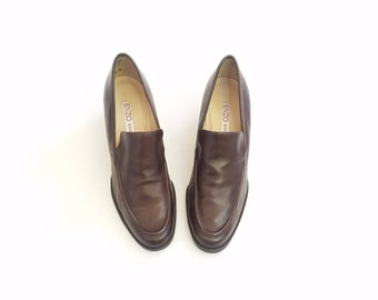 Vintage Womens 7.5 Enzo Angiolini Oxfords Heeled Ankle Booties Bootie Dress Shoes Pumps Granny Heels 90s Brown Leather Pumps Boho Preppy