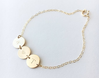 Initial Bracelet • Disc Bracelet in Gold Fill Rose Gold Fill and Sterling silver • Multiple Disc Bracelet • Personalized Gift | 0090BM