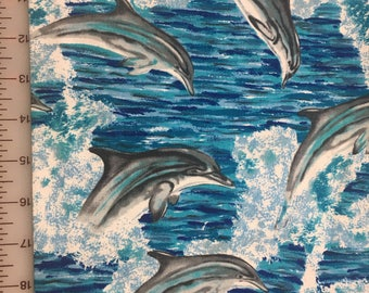 Dolphin Fabric / Blue Ocean White Waves / 100% cotton / Shamash and Sons / Sold by the yard.