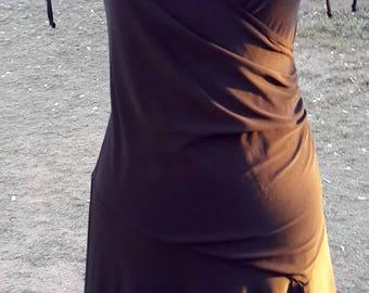 Long black vintage dress, gothic dress, evening dress, maxi dress, wrap dress, stretch dress, summer dress, party,  size uk 10-12, usa 8-10