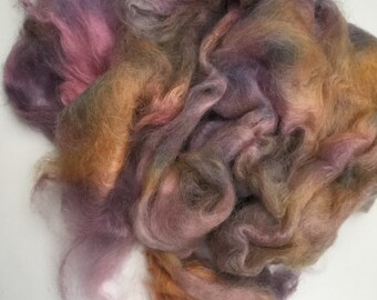 1 oz Hand dyed brushed mohair fiber, spinning, felting, weaving, knitting, crochet, crafts