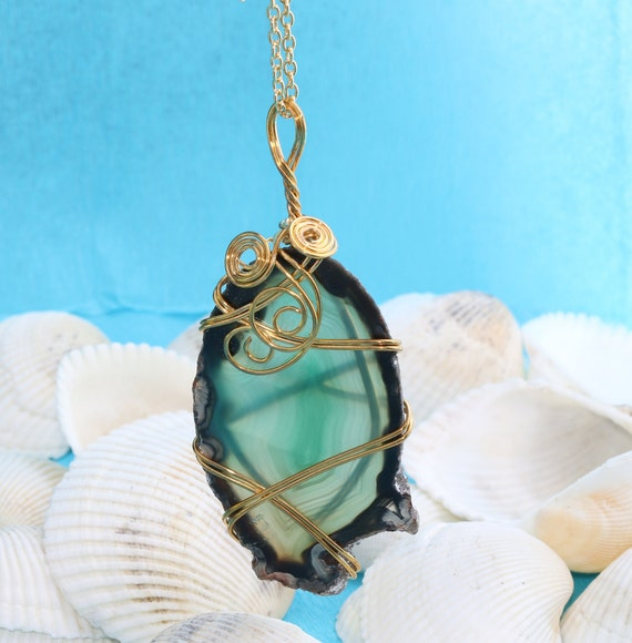 Green Druzy Agate Pendant, Naturel Green Wire Wrapped Agate Stone ...